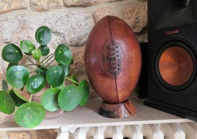 Ballon de rugby en cuir présenté entre une plante d'intérieur et une enceinte.