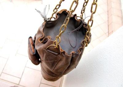 Vue du dessus de la fermeture du sac de frappe vintage