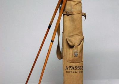 ancien tourbon de golf vintage en toile