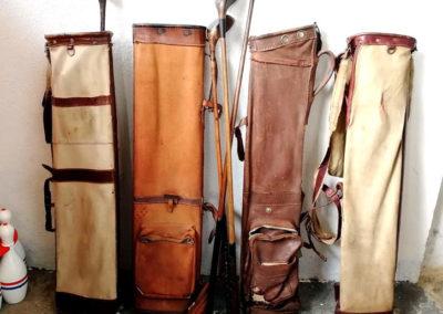 Lot sacs de golf vintage en toile et en cuir