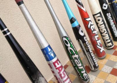 photo de profil de différents modèles de battes de baseball alu