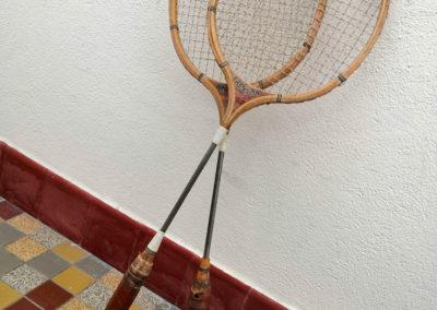 Tige en alu d'une paire de raquettes de Badminton vintage