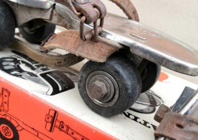 Vue macro sur un ancien patin à roulette