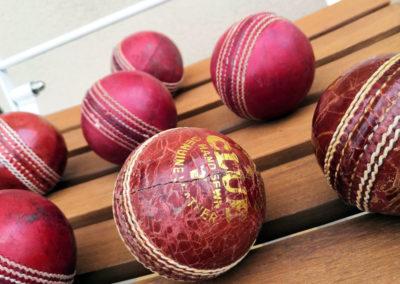 La plis belle balle de cricket mise en valeur en semi profil