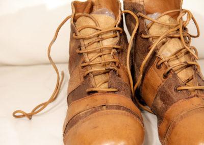 vue macro sur un lacet de chaussure de foot vintage